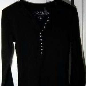 Tops - Thermal tee with long sleeves, black